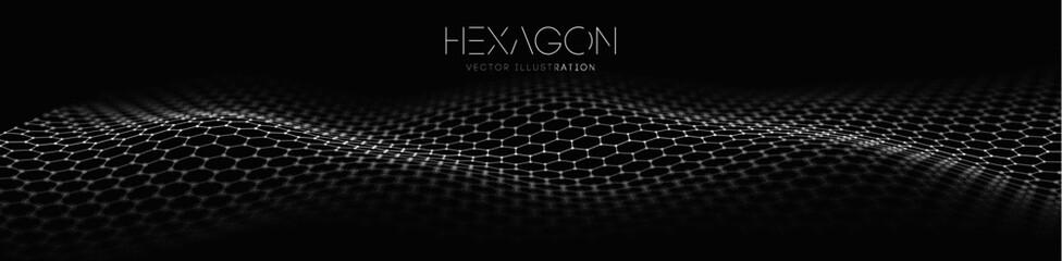 Obraz Hexagon wave vector template. Modern 3d graphic geometric background. Digital technology web flow abstract background. EPS 10. - fototapety do salonu