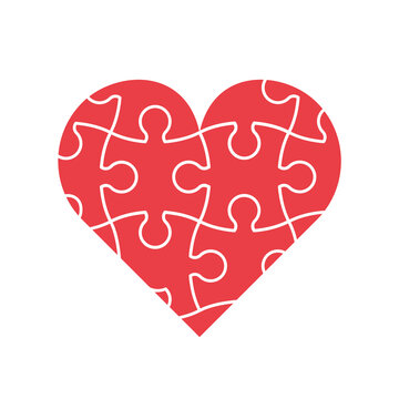 Red heart jigsaw puzzle. Healthy heart, medical concept. Valentine's day card. Love, emotions, relationship complexity idea. Puzzle pieces in a shape of heart. Vector illustration, flat, clip art.