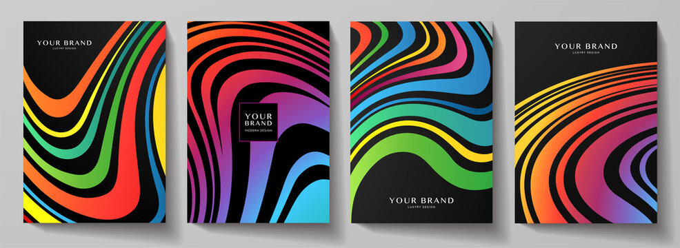 Modern creative rainbow cover design set.  Abstract wavy colorful line pattern (curves) on black background. Creative stripe vector collection for business background page, brochure template, booklet,