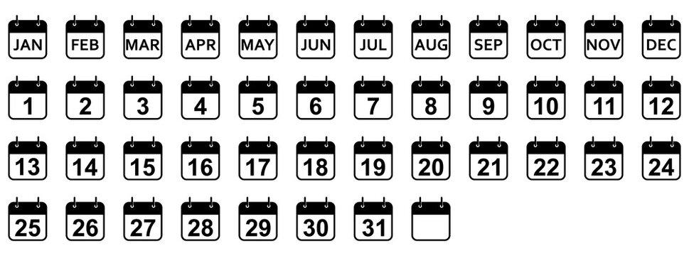 Every day and month of a year calendar icons. Set of black calendar icons. Vector illustration.
