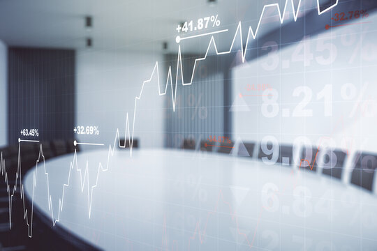 Double exposure of virtual creative financial diagram on a modern boardroom background, banking and accounting concept