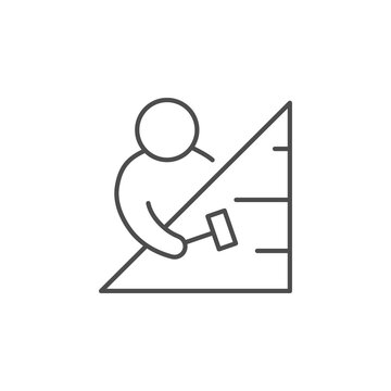 Roofing process line outline icon