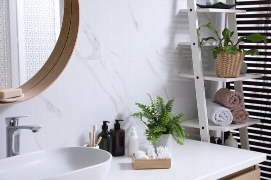Beautiful green ferns, towels and toiletries in bathroom