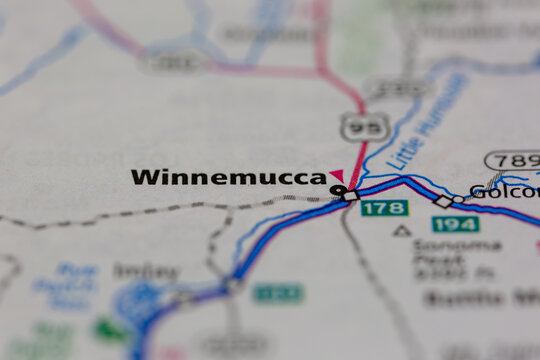 04-29-2021 Portsmouth, Hampshire, UK, Winnemucca California USA shown on a Geography map or road map