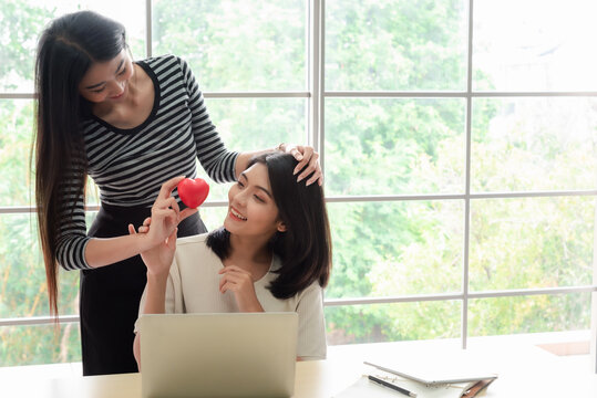 Young asian women lesbian lgbt couple with happy moment. LGBT lesbian couple together indoors concept.