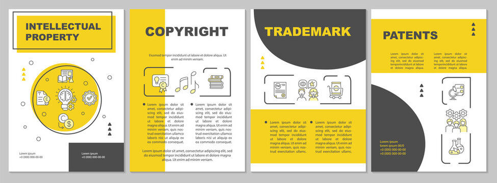 Intellectual property brochure template. Copyright laws. Flyer, booklet, leaflet print, cover design with linear icons. Vector layouts for presentation, annual reports, advertisement pages