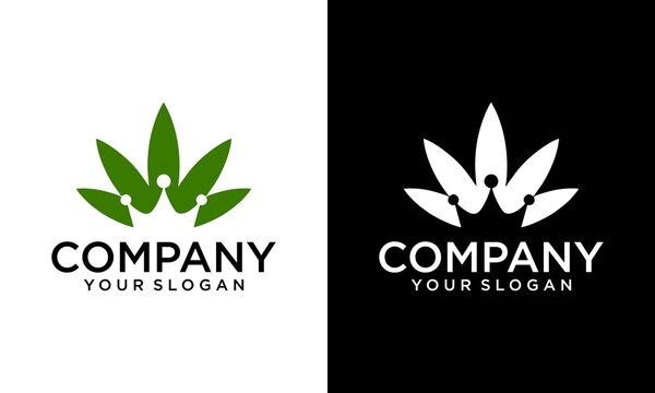 Luxury Crown CBD King Oil Logo for a Healthy Cannabis Products, Medical and CBD Industry. Queen King Royal Crown with Cannabis Pot Hemp Leaf for Premium CBD product logo design.