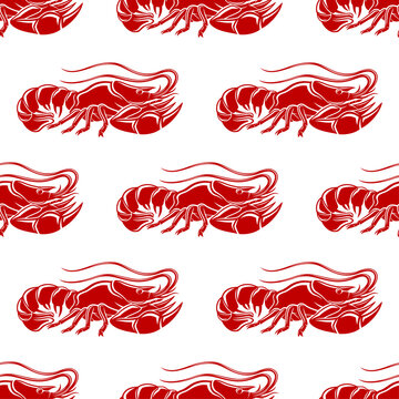 Seamless pattern with red lobsters on white background.