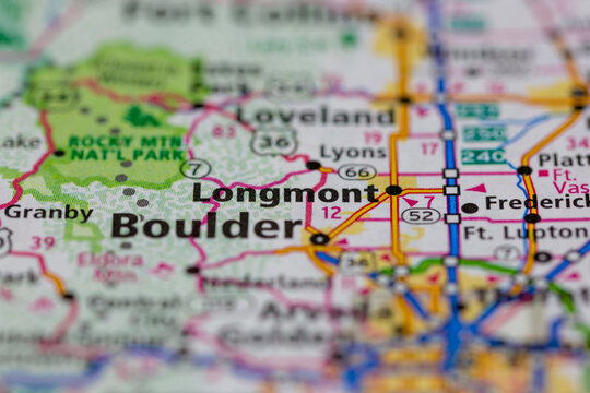 04-29-2021 Portsmouth, Hampshire, UK, Longmont Colorado USA shown on a Geography map or road map