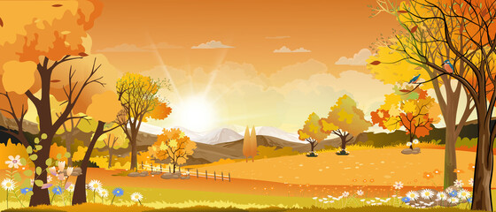 Vector Autumn landscape with mountain landscape of misty pine trees forest in the morning, Peaceful panoramic natural in minimalist style, Natural background concept