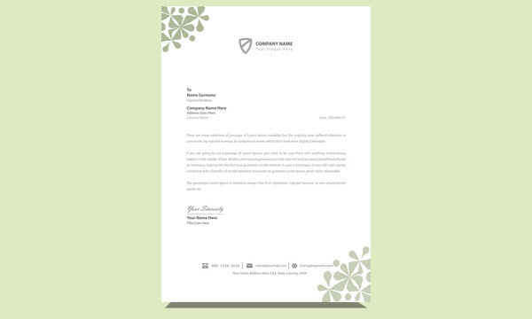 Official newest creative clean modern unique company professional corporate business letterhead template design with fresh green and gray colors.