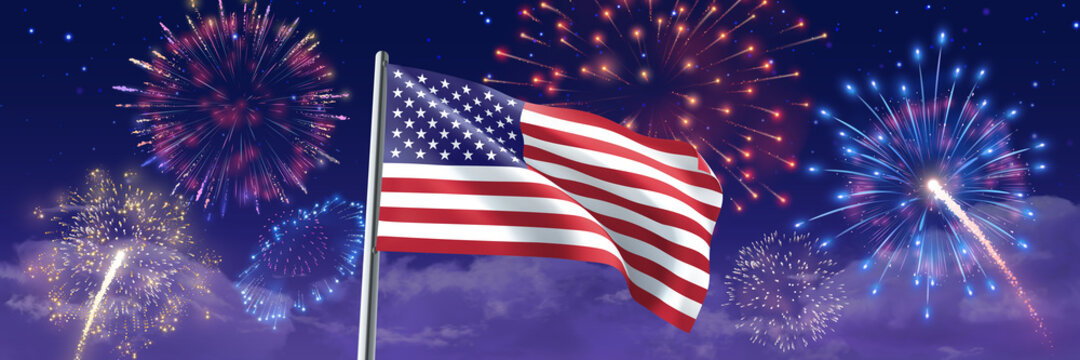 USA Flag with fireworks. 4th July celebration banner with American flag on starry night sky. Vector 3D illustration