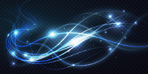 Fototapeta Abstract shiny luminous blue waves lines, bright light effect vector illustration. Magic neon swirl spiral traces of flying movement, moving glowing wavy energy shapes on transparent dark background obraz