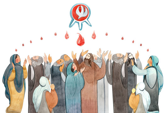 Watercolor illustration Descent of the Holy Spirit on the Apostles, Holy Trinity Day, Pentecost, whitsunday. Praying men and women, the Holy Spirit in the form of a dove. Christian art