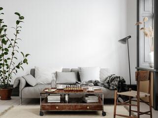 Obraz Scandinavian living room interior background, wall mockup, 3d render - fototapety do salonu