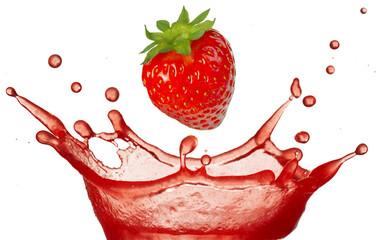 strawberry falling in juice splash isolated on white background