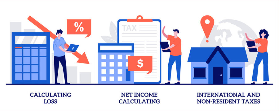 Calculating Loss Calculating Net Income International Non Resident Taxes Illustration With Tiny People