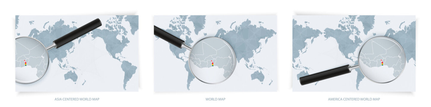 Blue Abstract World Maps with magnifying glass on map of Togo with the national flag of Togo. Three version of World Map.