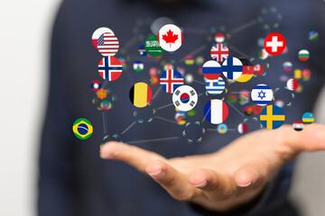 Fototapeta Globe International World Flags.