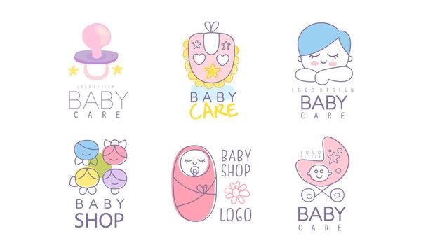 Baby Care Logo Design as Store or Shop Mark Vector Set