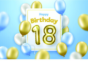 Happy 18th Birthday Background With Realistic Balloons  Wall mural