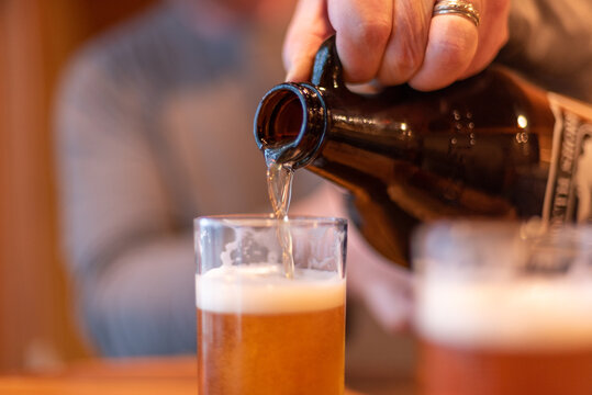 Pouring beer from a growler