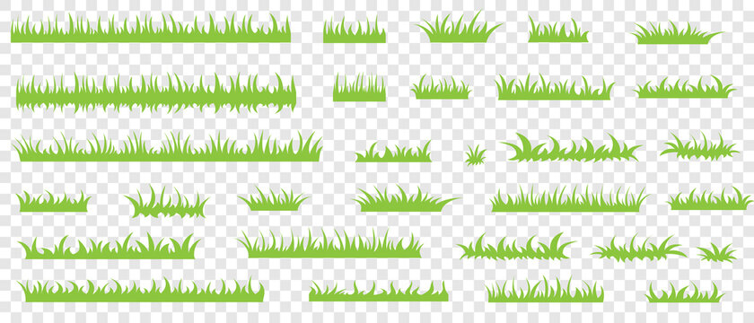 Green grass, vector set for drawing pictures in flat style. Natural material for collecting screensavers.