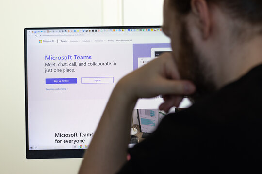 New York, USA - 26 April 2021: Microsoft Teams website page on screen, man using service, Illustrative Editorial.