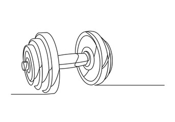 Dumbbell continuous one line drawing. Heavy dumbbell isolated white background. Vector illustration