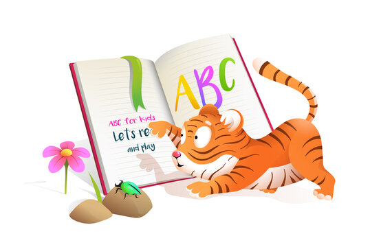 Cute baby little tiger reading studying ABC book, studying and playing. Fun educational illustration for children library. Kids tiger cub lesson at school vector cartoon in watercolor style.