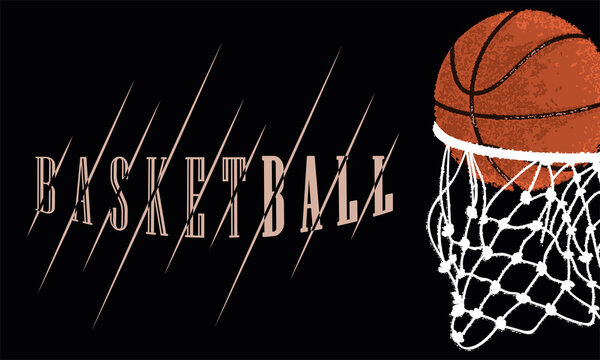 Colored basketball poster