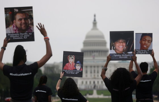 Gun violence survivors speak on the National Mall in Washington, U.S.