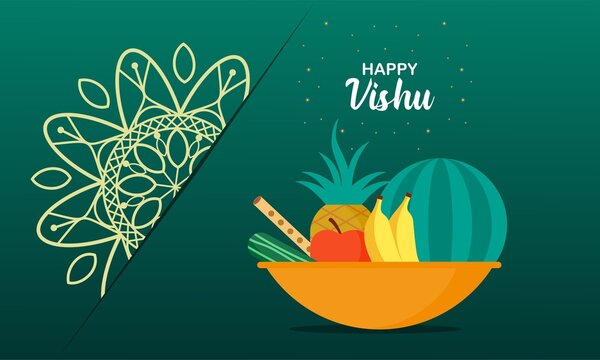 Flat design happy vishu illustration