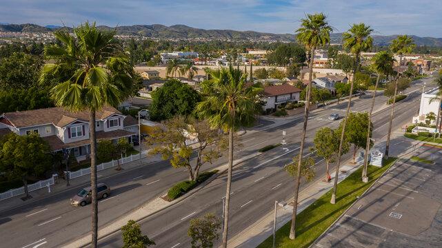 Sunset aerial view of downtown Yorba Linda, California, USA.