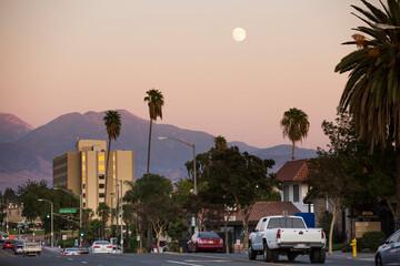 Twilight sunset view of the skyline of downtown San Bernardino, California, USA.
