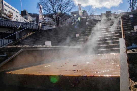伊香保石段街の階段から出る湯気