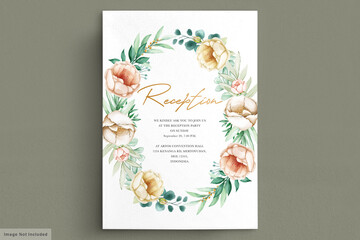 Obraz Romantic watercolor peonies wedding card set - fototapety do salonu