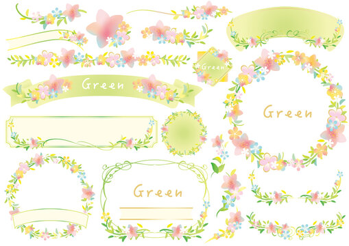 エコ、かわいい花の新緑のフレームセット