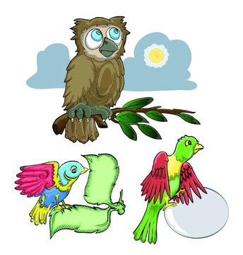 set of funny  bird hand draw illustration