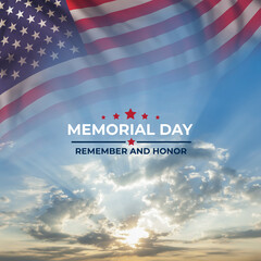 Wall Murals London Memorial day card with flag and text