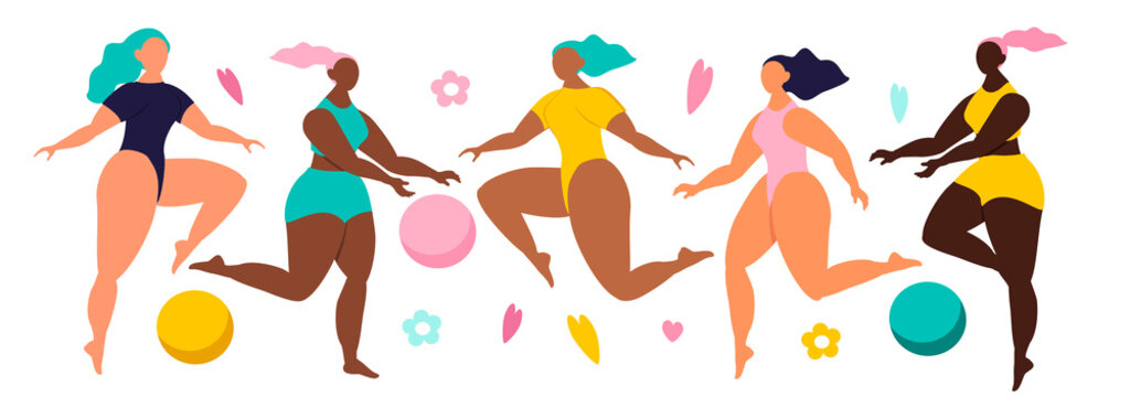 vector illustration in flat style. Different ethnicity and skin colour women characters in swimwear. Ladies jumping, playing ball. Variety of poses and gestures. Body positive. Love your body