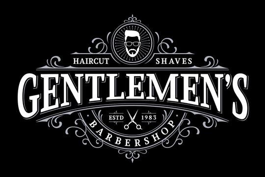 Barbershop vintage lettering logo with decorative ornamental frame