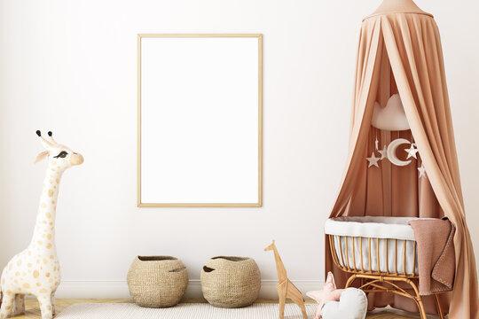 Boho baby room mockup frame, 3D render
