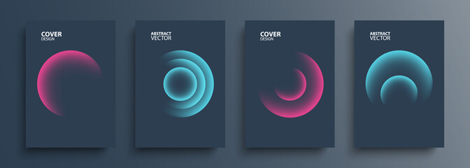 Obraz Cover templates set with vibrant gradient round shapes. Futuristic abstract backgrounds with glossy sphere for your creative graphic design. Vector illustration. - fototapety do salonu