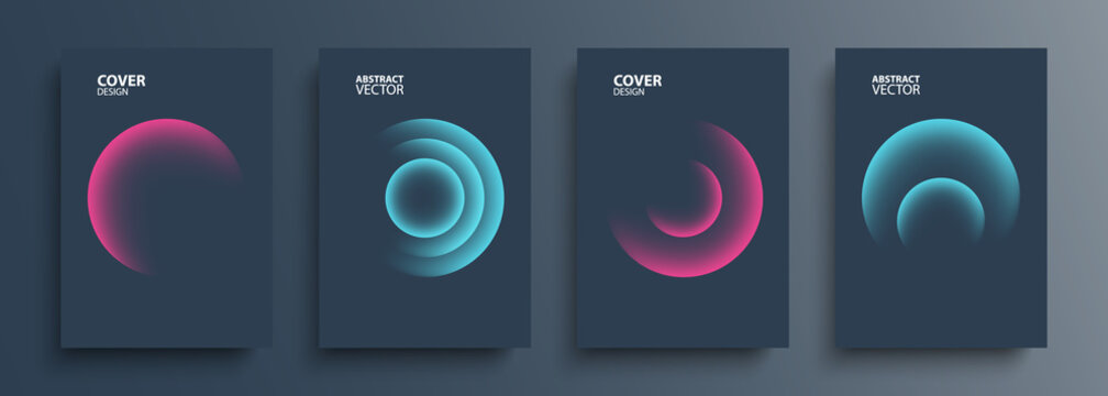 Cover templates set with vibrant gradient round shapes. Futuristic abstract backgrounds with glossy sphere for your creative graphic design. Vector illustration.