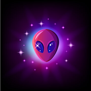 Alien face with big eyes in outer space with stars. Extraterrestrial humanoid head vector illustration.