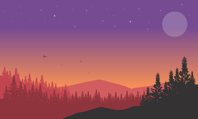 An aesthetically pleasing silhouette of mountains and pine trees at dusk from the suburbs. Vector illustration