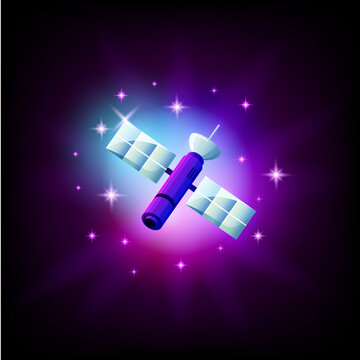 space satellite in dark space vector icon illustration.