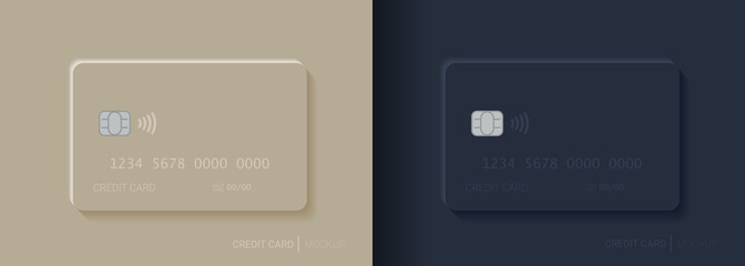 Fototapeta Credit card mockup. Plastic bank card vector design template set. obraz