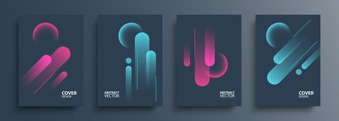 Cover templates set with vibrant dynamic lines and glossy spheres. Futuristic abstract backgrounds for your creative graphic design. Vector illustration.